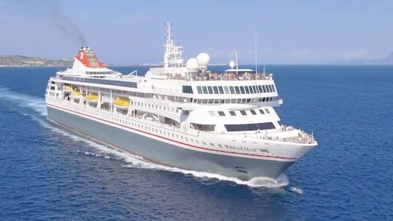 There have been 5 confirmed cases of Covid-19 on board the Braemar. Pic: Fred Olsen Cruise Lines