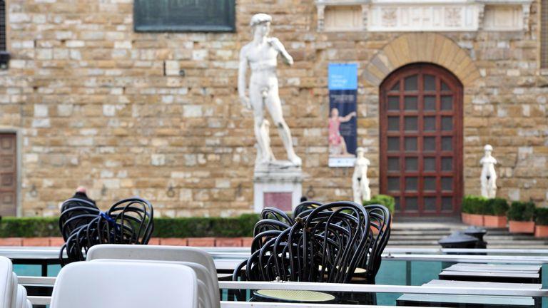 Empty restaurant in Piazza della Signoria in Florence