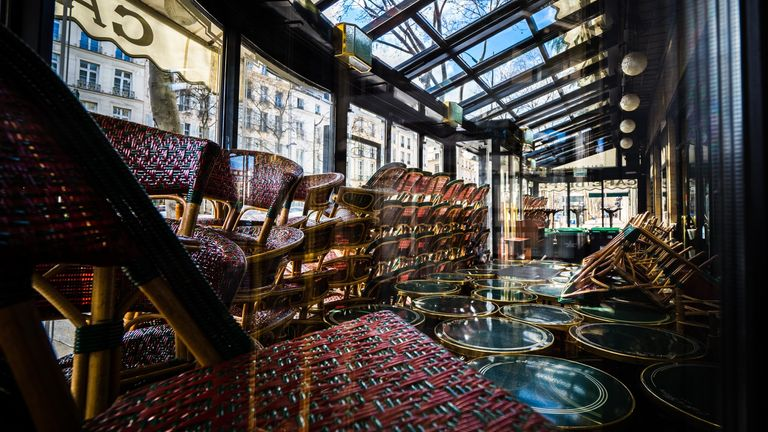 "General view inside the closed cafe ""Cafe de Flore"", in the 6th quarter of Paris, on March 15, 2020"