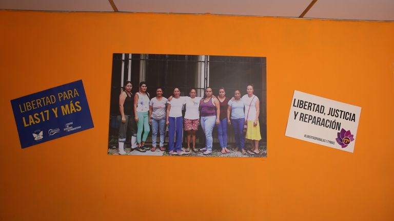 Pictures of women the campaigners want released are on the wall of a safe house