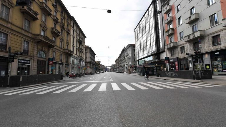 MILAN, ITALY - MARCH 15: The Deserted streets are seen in the six-day of an unprecedented lockdown across all Italy, imposed to slow the outbreak of coronavirus on March 15, 2020 in Milan, Italy. (Photo by Fabio Iona/Corbis via Getty Images)