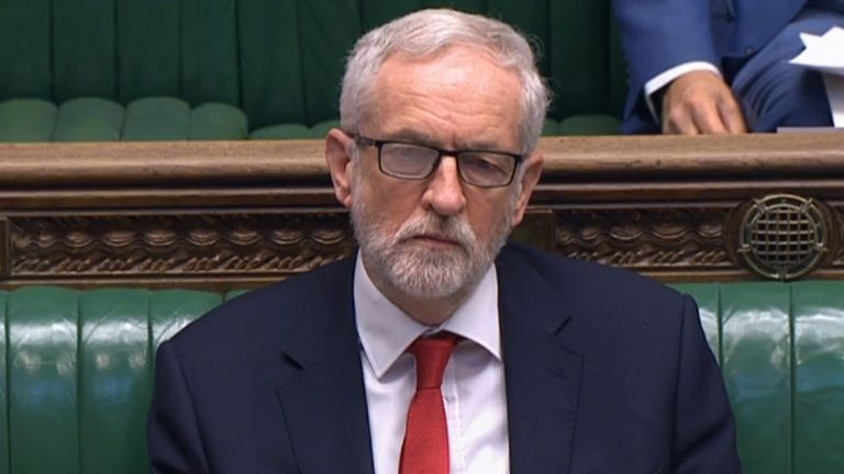 Jeremy Corbyn during his final PMQs as Labour leader