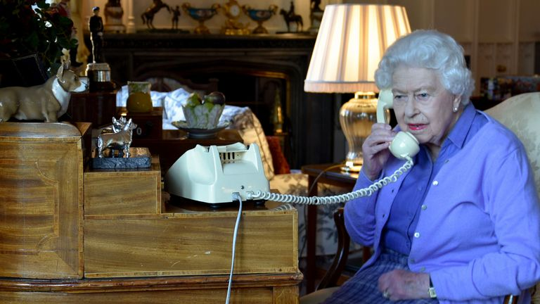 The Queen holds her weekly audience with the prime minister by phone rather than face to face