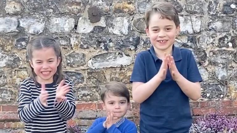 The royal children clapping for the NHS. Pic: @KensingtonRoyal