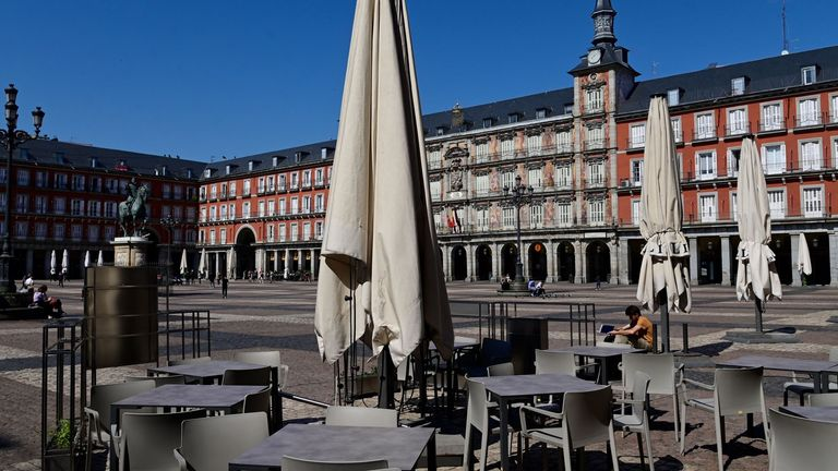 Restaurants are closed in the tourist hotsport of Plaza Mayor in central Madrid