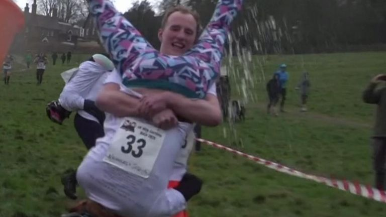Competitive couples took part in the 13th annual UK Wife-Carrying Championships, completing for a barrel of beer.