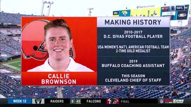Brownson becomes first female position coach in NFL.