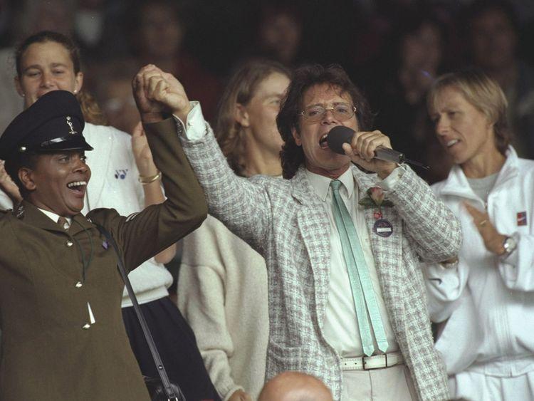 Sir Cliff Richard at Wimbledon in 1996