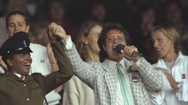 Sir Cliff Richard at Wimbledon in 1996