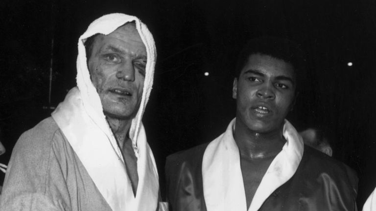 Henry Cooper and Cassius Clay following their fight at Wembley