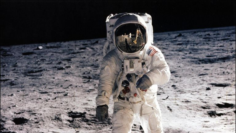 Picture taken on July 20, 1969 shows astronaut Edwin E. Aldrin