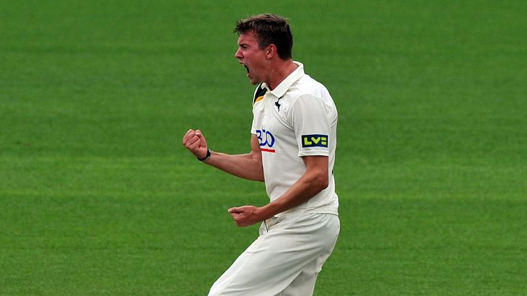Nottinghamshire's Jake Ball celebrates taking the wicket of Lancashire's Luke Procter at Trent Bridge
