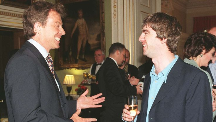 File photo dated 30/07/97 of Prime Minister Tony Blair (left) with Oasis star Noel Gallagher at a Downing Street Reception as Gallagher later said in a New