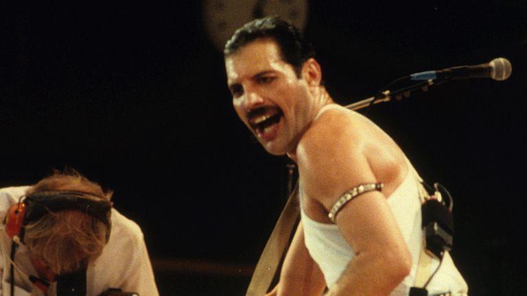 Lead singer of Queen, Freddie Mercury on stage.