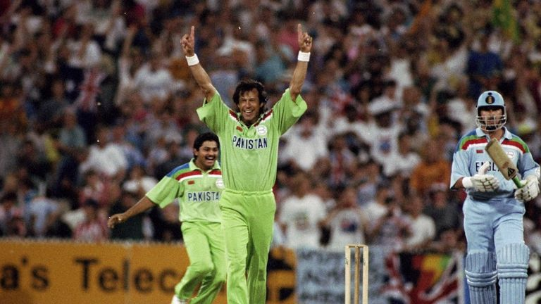 25 Mar 1992:  Imran Khan of Pakistan celebrates after taking the wicket of Richard Illingworth of England to win the World Cup Final at the Melbourne Crick