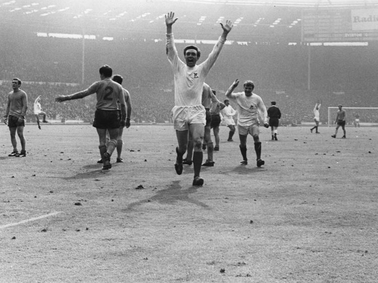 Jeff Astle celebrates after scoring the winner for West Brom in the 1968 FA Cup final