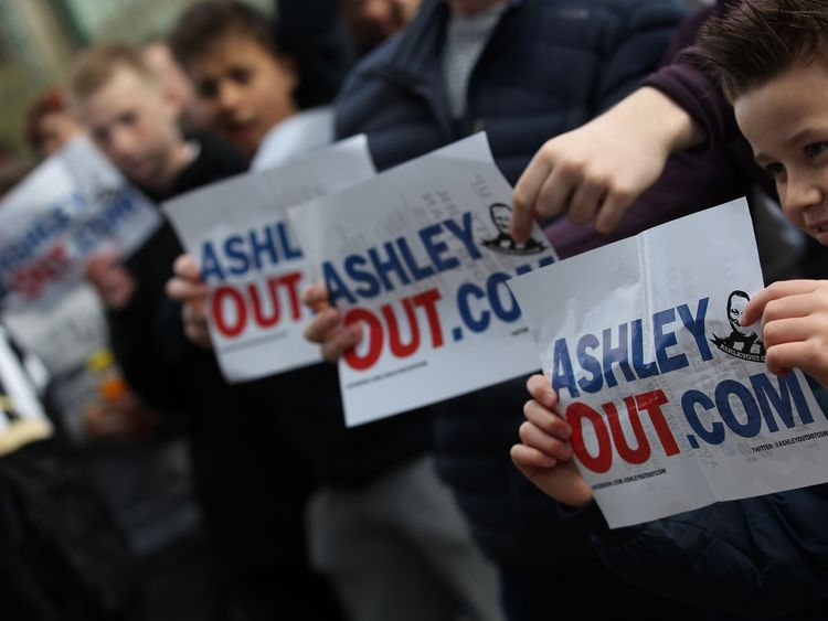 A large group of Newcastle fans protested against Mike Ashley before Sunday's game
