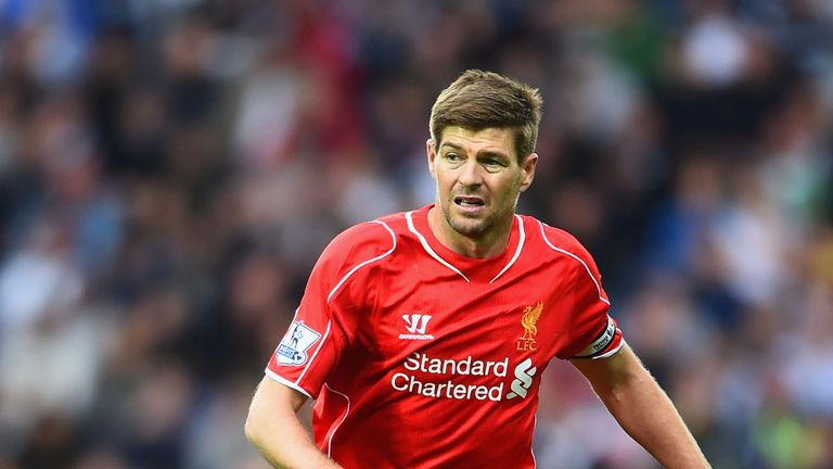 Steven Gerrard of Liverpool on the ball during the Barclays Premier League match between West Bromwich Albion and Liverpool at The Hawthorns