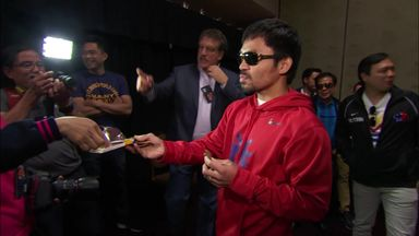 Manny eats chocolate before weigh-in!
