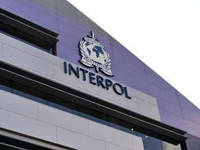 A logo at the newly completed Interpol Global Complex for Innovation building.