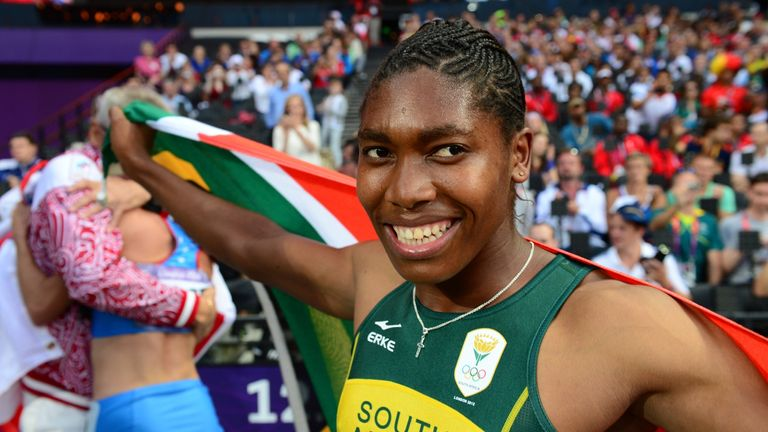 South Africa's Caster Semenya silver medalist celebrates after the women's 800m final at London 2012 Olympic Games on August 11,
