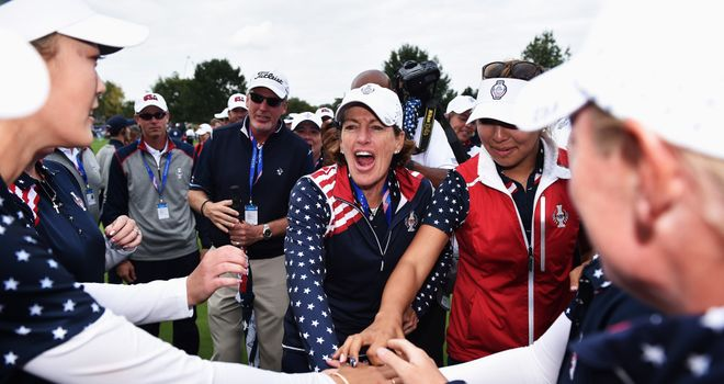 Angela Stanford reacts after the USA won the Solheim Cup in remarkable fashion