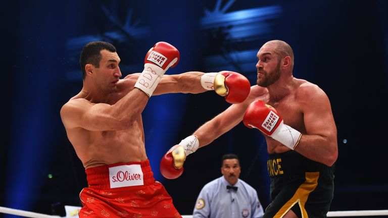 Tyson Fury in action with Wladimir Klitschko