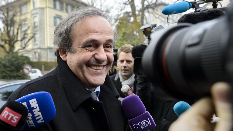 Michel Platini arrives at the Court of Arbitration for Sport ahead of his hearing on Tuesday