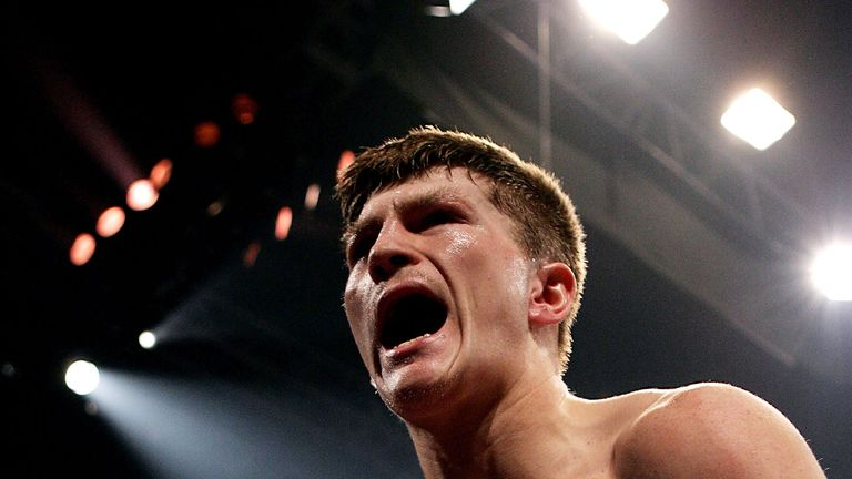 MANCHESTER, ENGLAND - JUNE 4:  Ricky Hatton celebrates beating Kostya Tszyu during the IBF light welterweight title fight at the MEN Arena on June 4, 2005
