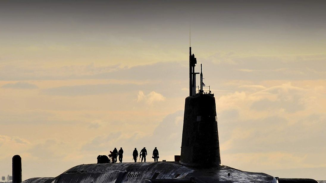 An MoD picture of Trident nuclear submarine HMS Vanguard