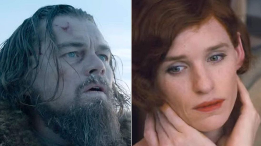 leonardo dicaprio in the revenant & eddie redmayne in the danish girl