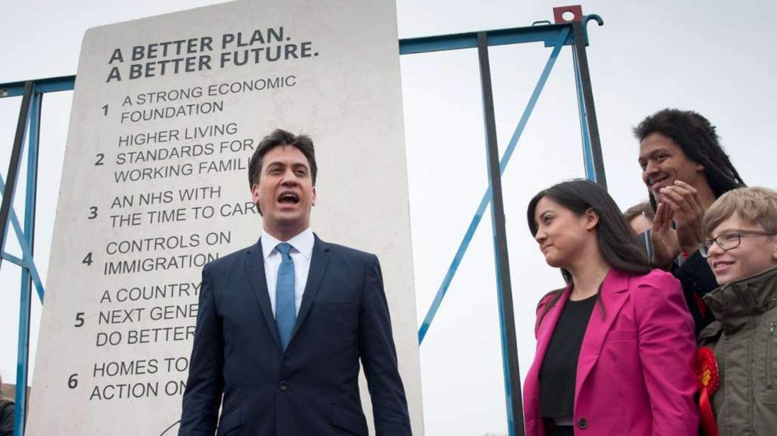 Ed Miliband unveils an eight-foot limestone slab detailing his election pledges