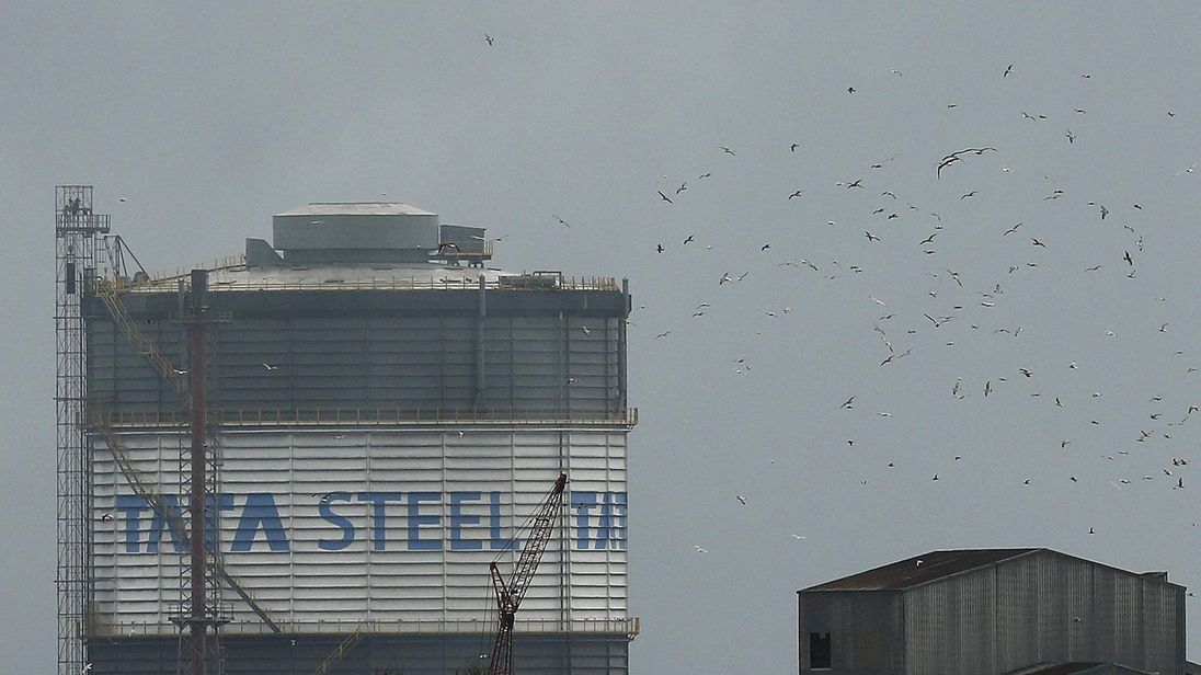 Birds fly above part of the TATA steel plant in Scunthorpe