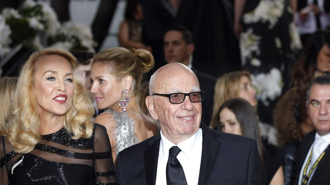 Jerry Hall and media magnate Rupert Murdoch arrive at the 73rd Golden Globe Awards in Beverly Hills