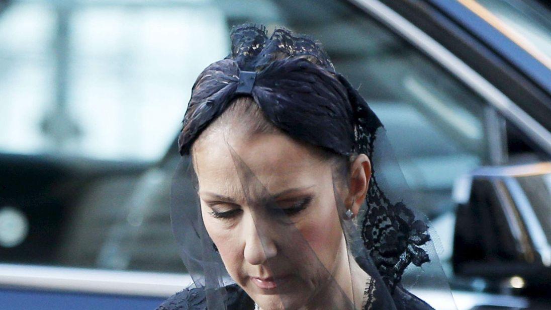 Celine Dion at funeral of her husband Rene Angelil