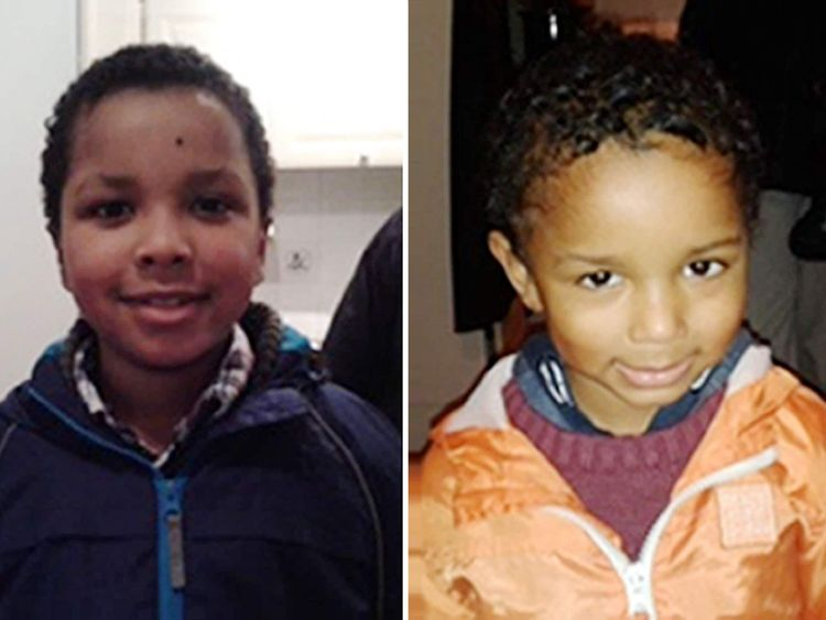 Zachary (left), eight, and Amon, four