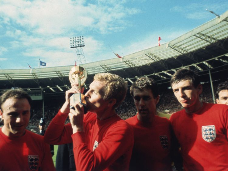 England captain Bobby Moore kisss the Jules Rimet trophy after the 1966 World Cup final