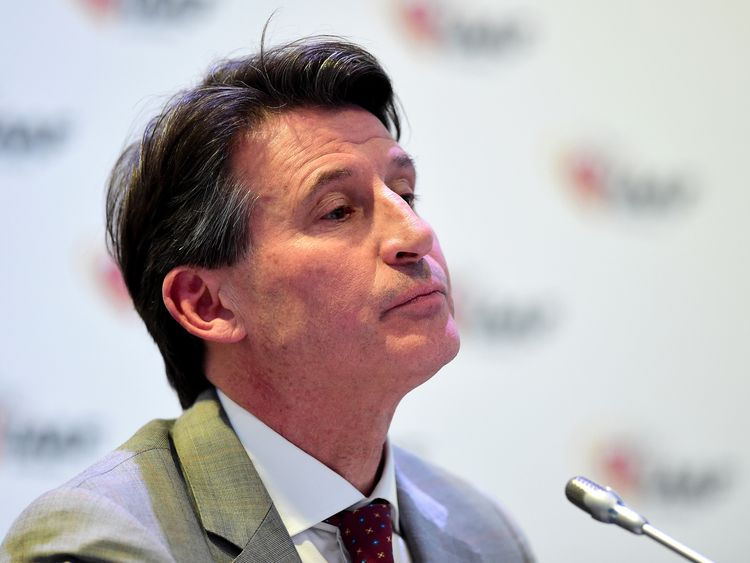 Lord Sebastian Coe, President of the IAAF answers questions from the media during a press conference in Monaco, November 2015