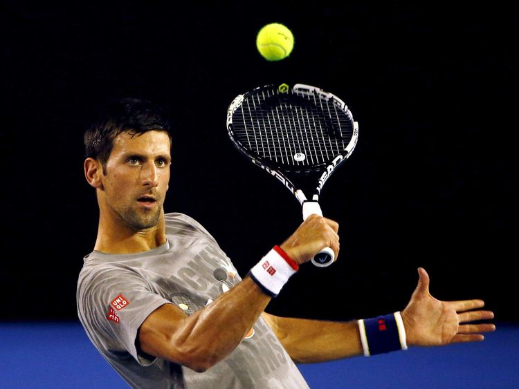 Serbia's Djokovic hits a shot during a practice session at Melbourne Park, Australia