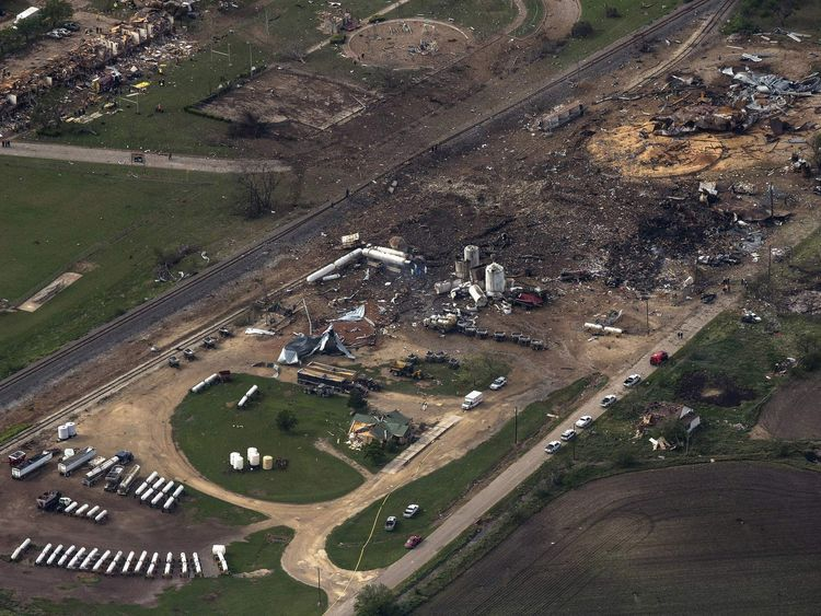 An aerial view shows the aftermath of a massive explosion at a fertilizer plant in the town of West, near Waco, Texas