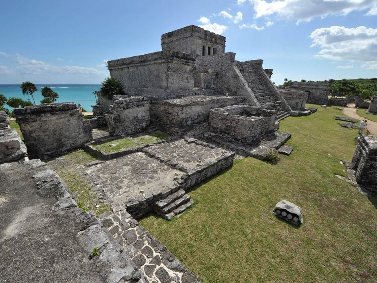 Picture of The Castle, the main temple at the Pre-Columbian Mayan site of Tulum, built on the eastern coast of the Yucatan Peninsula on the Caribbean Sea