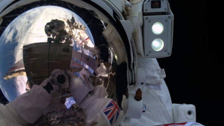 Tim Peake takes a selfie on his first spacewalk