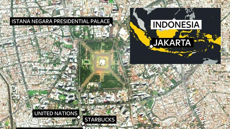 A map showing the targets of attacks across Jakarta, Indonesia