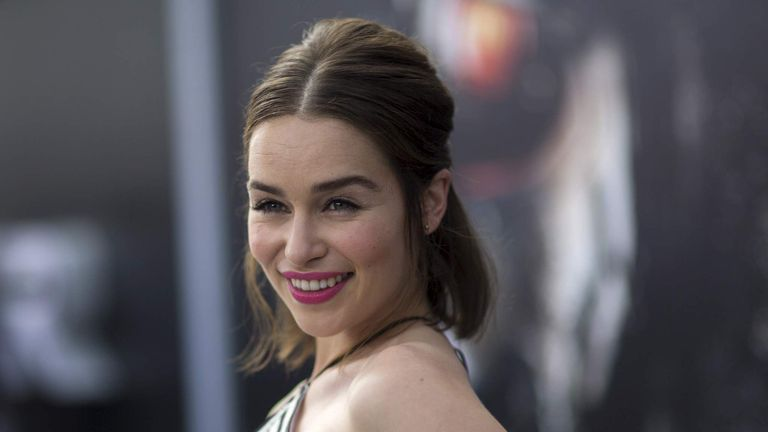 "Emilia Clarke poses at the premiere of ""Terminator Genisys"" in Hollywood, California"