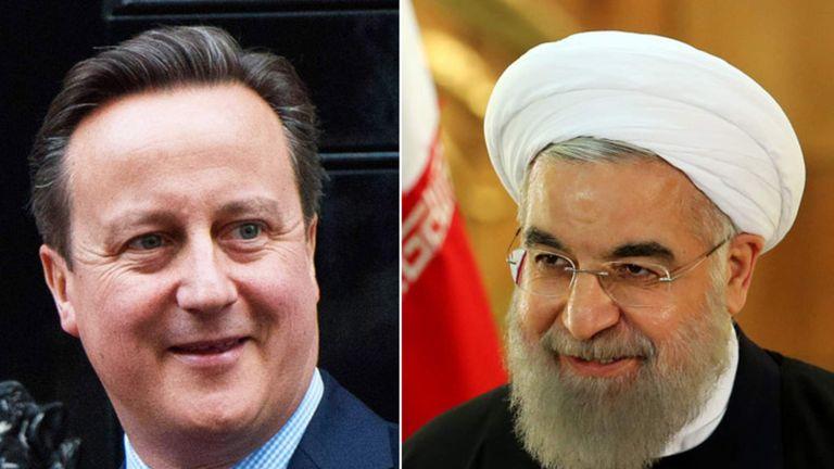 David Cameron and Iran President Hassan Rouhani