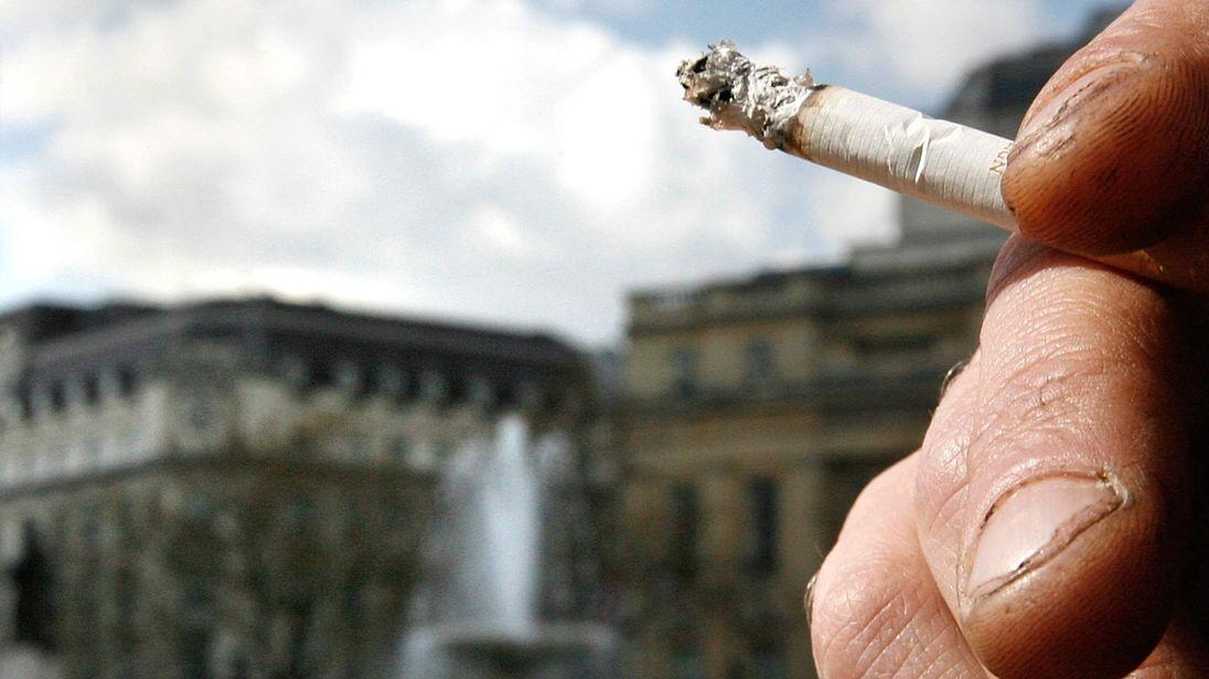 Smoking In Trafalgar Square London