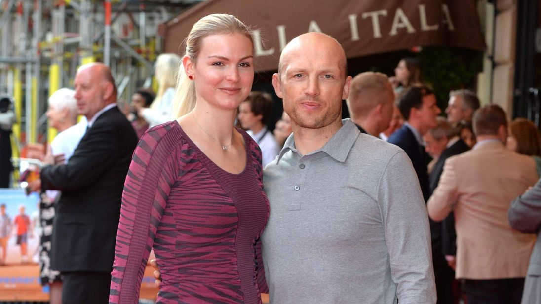 Ex-England rugby star Matt Dawson and wife Carolin Hauskeller at film premiere