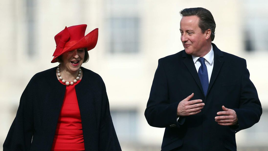 Home Secretary Theresa May and Prime Minister David Cameron