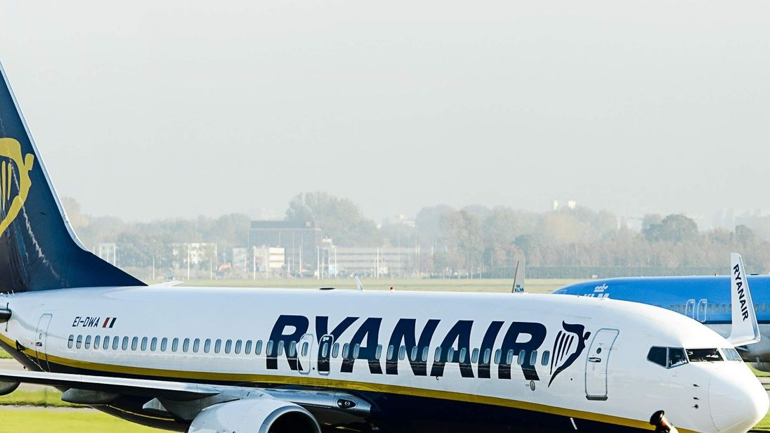 A Ryanair plane at Schiphol Airport in Amsterdam