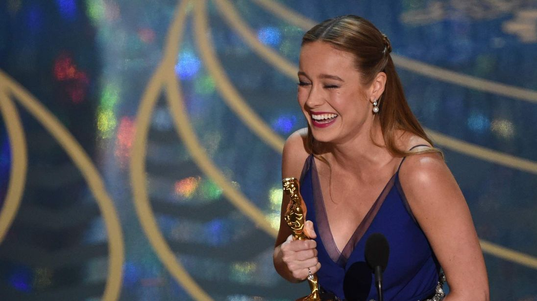 Actress Brie Larson accepts her Oscar